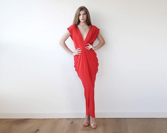Red evening maxi dress , Bridesmaids red open back gown