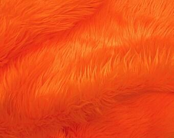 Faux/Fake Fur Luxury Shag Orange 58 Inch Fabric by the Yard - 1 Yard