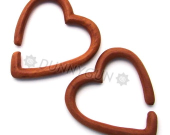 6G Pair Heart Hoop Red Saba Wood Gauged Plugs Hand Carved Organic Body Piercing Jewelry Earrings 6 gauge