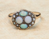 Antique Victorian 14k Rose Gold Opal and Seed Pearl Ring