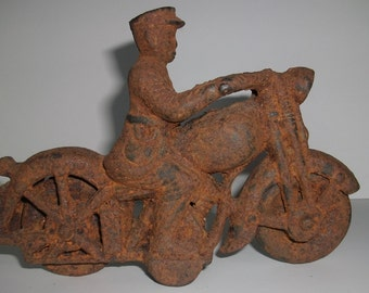Antique Cast Iron Motorcycle Toy Biker Police