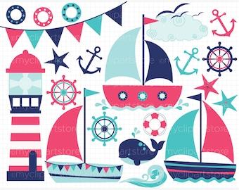 Clipart - Sailing / Sail Away (Girl) - Digital Clip Art (Instant Download)