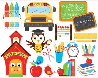 Clipart - Back To School / Educational / Teachers / School House - Digital Clip Art (Instant Download)