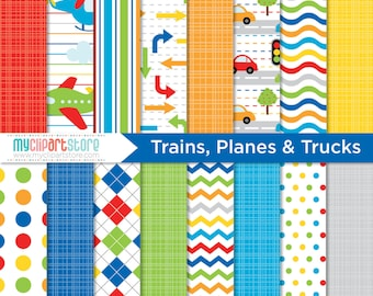 Digital Paper - Trains, Planes, Cars and Trucks - Instant Download