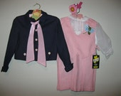 Vintage 1950's dress, vintage baby girl dress, 1950 girl's coat, 1950 girl's suspender skirt, 50s vest, 50's jacket, 1950's NOS, size 3