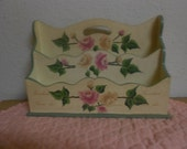 Vintage Hand Made and Hand painted French Letter Holder / Yellow and pink Roses / French Presidents