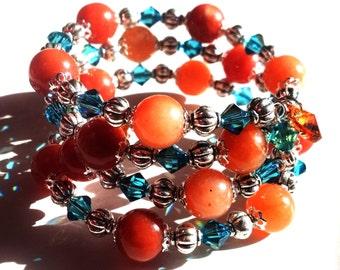 Red and Blue Memory Wire Bracelet Topaz Hearts Swarovski and Aventurine Gemstone Orange Red and Bue Southwestern Jewelry Cyber Monday Sale