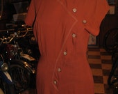 40's Tailored Brown Cotton Dress  Swing WWII Movie Dress Medium