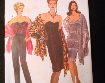 Boned, strapless dress or top pattern Vogue 8485 with stole from 1992. Sizes 6 - 8 - 10