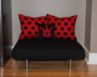 """24""""x24"""" Upholstered Pet Bed / Cat Bed / Small Dog Bed /// Pet Lounger with Polka Dot Pillows"""