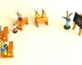 Vintage Wooden Easter Bunny Figurines, teacher and school class