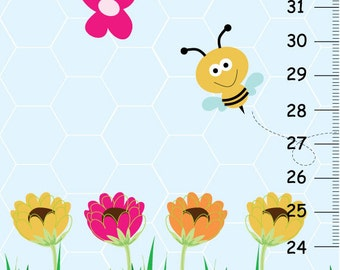 Bumble Bee and flowers Canvas Growth Chart