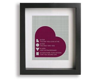 L.O.V.E. inspired song lyrics art print - wall art, wall decor, gift idea, anniversary gift, heart, love, gift for her