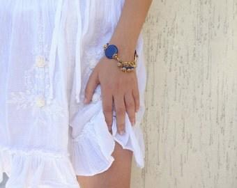 Lapis Lazuli Bracelet,Turkish Silk Bracelet, Gold Leaf Bracelet, Stones Jewelry, Elegant,Feminine  Bracelet, Christmas Gifts