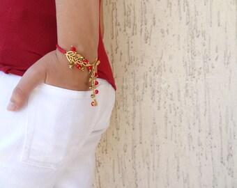 Gold Leaf Bracelet , Gold Plated Bracelet, Red Bracelet,OOAK Feminine Handmade , Christmas