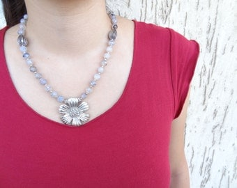 Grey Agat Necklace, Silver Plated Flower Pendant Necklace,  OOAK Feminine Necklace