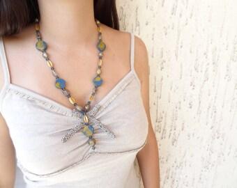 Navy Blue, Yellow Necklace Antique, Hand Made Glass Beads and Clay Beads Necklace, Antique Necklace, OOAK Feminine