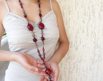 Long Necklace, Burgundy Necklace, Beaded Necklace,Women Jewelry, Elegance,Feminine,Long Necklace, OOAK Jewelry, Mother's Day, Valentines