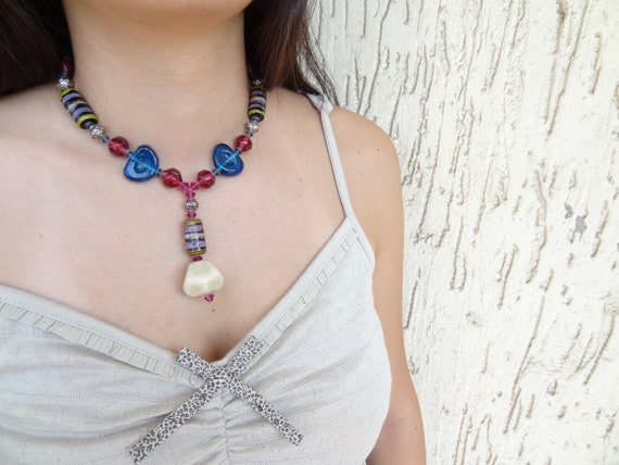 Fuchsia and Cobalt Blue Glass Necklace, Heart Necklace, Ethnic,Authentic Necklace-OOAK Christmas Gifts