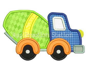 Cute Cement Mixer Truck Applique Machine Embroidery Design boy vehicle construction INSTANT DOWNLOAD