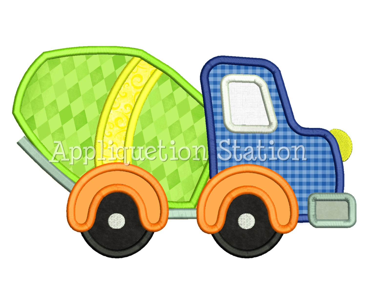 Cute Cement Mixer Truck Applique Machine Embroidery Design boy