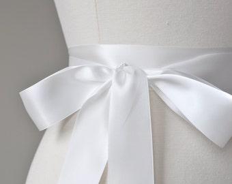 Ready To Ship - OFF WHITE Bridal Belt - Romantic Luxe Satin Ribbon Sash - Wedding Sashes