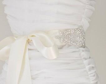 Wedding Sash - Belt,Bridal Sash,Rhinestone Sash,Beaded Sash, Satin Wedding Sash