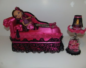 Furniture for Ever After High Dolls Handmade Chaise Lounge Bed for Briar Beauty with Mirrored Rose Table and  Working Lamp!