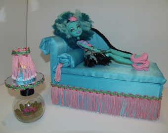 Furniture for Monster High Dolls Handmade Chaise Lounge Bed for Honey Swamp, Mirrored Swamp Scene Table and Working Lamp!