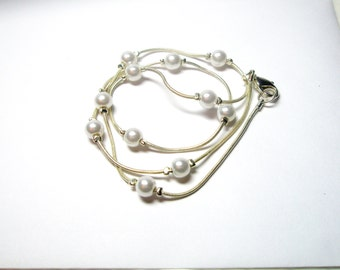 Vintage Pearl  Necklace Gift For Her Under 20  and Free  gift