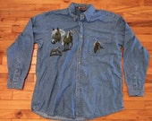 90s Deadstock Denim wild horses button up shirt /// hipster grunge pony farm western /// Unisex Large