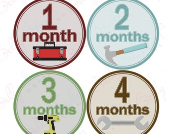 Boy Monthly Baby Stickers, 1 to 12 Months, Monthly Bodysuit Stickers, Baby Age Stickers, Tools  (031-3)