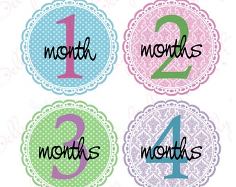 Girl Monthly Baby Stickers, 1 to 12 Months, Monthly Bodysuit Stickers, Baby Age Stickers, Elegant Damask Scallops  (064-2)