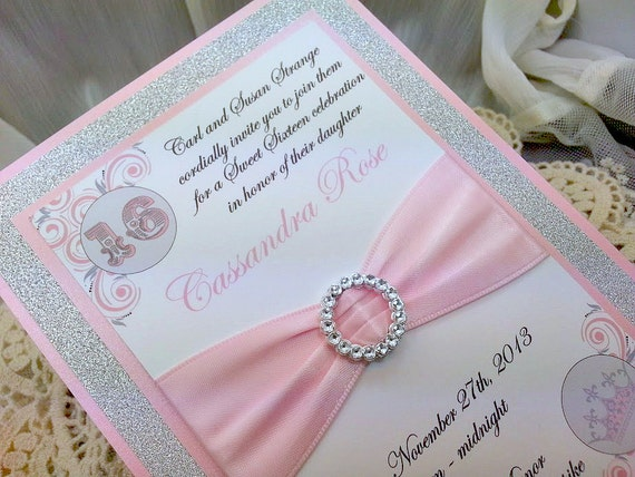 Pink and Grey Quinceanera or Sweet 16 Invitations by InviteBling