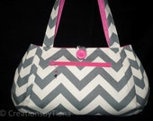 Chevron Bag - Purse - Gray/w Hot Pink Bag Purse Handbag, Handmade Shoulder bag