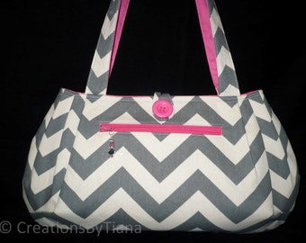 Chevron Bag - Purse - Gray/w Hot Pink Bag Purse Handbag, Handmade Shoulder bag