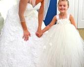 Ivory pearl straps flower girl tutu dress, flower girl dress, tutu dress, satin straps