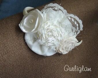 Ivory Flower girl headband, Vintage headband, Baby girl headband