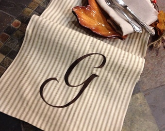 "Personalized Premium Monogram Table Runner - 12"" wide by 7 feet (84"") long Ticking stripe - Wedding or Party runners"