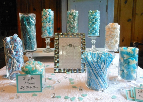 Complete Turquoise Tiffany Blue And White Candy Buffet