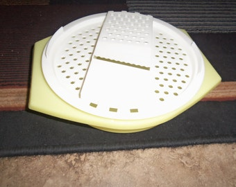 Vintage yellow white Tupperware cheese veggie grater with bowl