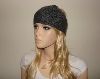Gray knit headband with flower, chunky knitted headband, crochet headband, charcoal gray head wrap, woman ski chunky acrylic soft chunky