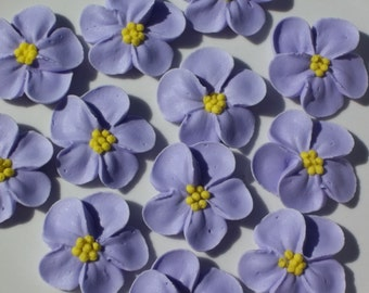 Large lavender royal icing flowers  -- Edible cake decorations cupcake toppers  (12 pieces)