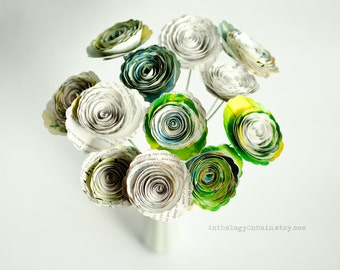 The Wizard of Oz Bouquet in Roses or Poppies - Nursery or Wedding Decor made from Illustrated Children's Book - Colorful Paper Flowers