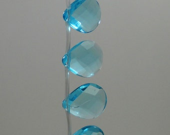 Sky Blue Topaz Quartz Faceted Briolette Beads 15mm - 16mm