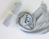 SILVER GRAY ( Light Gray ) Pashminas. Bridesmaid Silver Gray Shawl. Pashmina Scarf. Wedding Favor