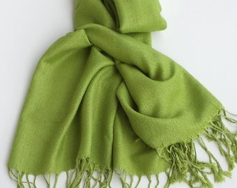 CHARTREUSE PASHMINA SHAWL. Pashmina Scarf. Bridesmaid Gift. Wedding Favor.