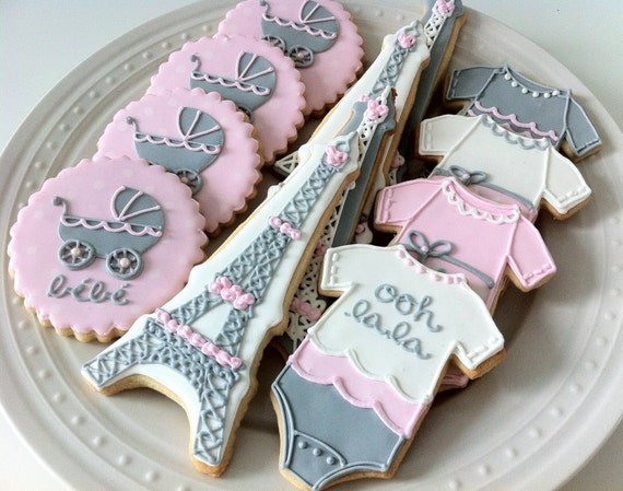 Items Similar To Decorated French Themed Baby Shower Cookies, Onesies,  Eiffel Tower, Parisian