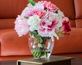 Silk Peonies Arrangement with Pink Real Touch Flowers Rose Cabbage Oriental Lily Artificial Florals in Glass Vase for Home Decor