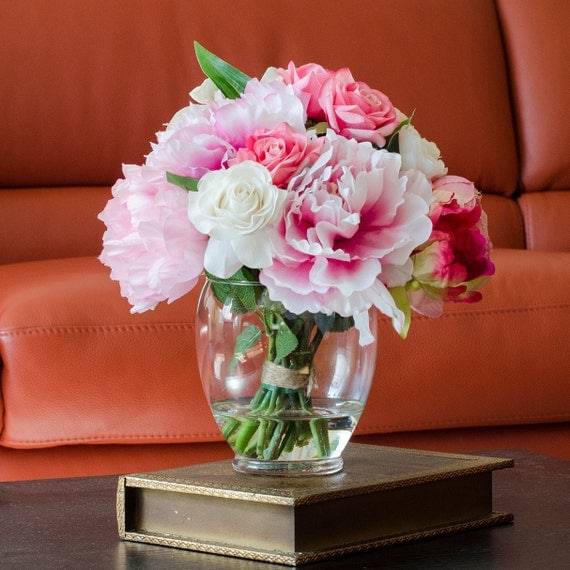 Silk peonies arrangement with pink real touch flowers rose for Artificial flower vase decoration ideas